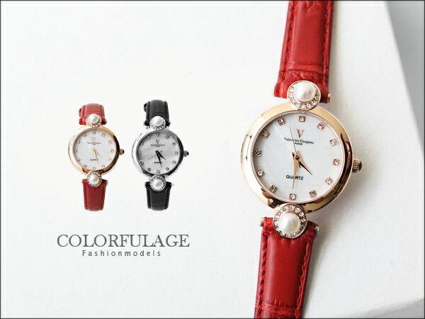 Valentino范倫鐵諾 珍珠貝面爪鑲晶鑽真皮手錶腕錶 名媛必備 柒彩年代【NE885】單支 0
