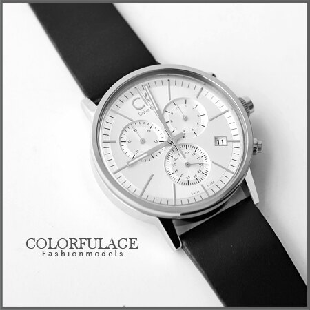 Calvin Klein經典真三眼計時腕錶 專櫃真皮不鏽鋼 生日禮物手錶 柒彩年代【NE900】大仁哥配戴款 0