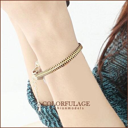 柒彩年代˙甜美龐克風格 時尚金色澤個性拉鍊造型手鍊手環 【NA217】單條價格 0