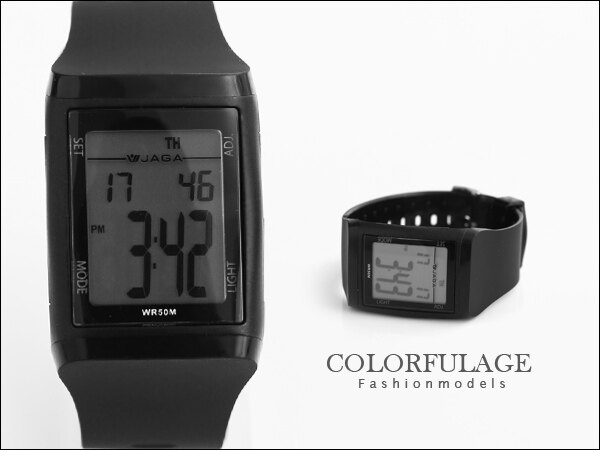 柒彩年代【NE423】JAGA 捷卡都會時尚風多功能電子錶 低調全黑型男防水100米~原廠公司貨 0