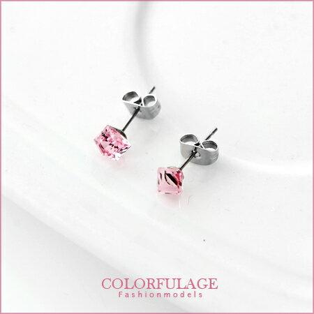 施華洛世奇粉色水晶立體方塊耳針耳環 簡約大方典雅。柒彩年代【ND133】一對價格 0