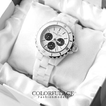名媛精密陶瓷腕錶 專櫃藍寶石鏡片 鐵諾Valentino手錶 真三眼玫瑰金 柒彩年代【NE931】原廠公司貨 0