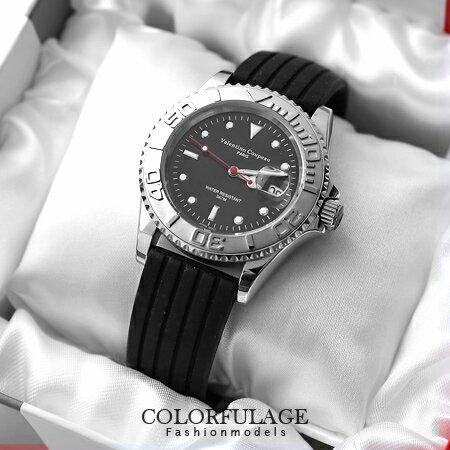 粗曠不鏽鋼手錶 精品范倫鐵諾Valentino腕錶 矽膠錶帶超方便 柒彩年代【NE967】原廠公司貨 0
