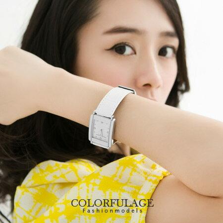 素面簡約方形水鑽刻度腕錶 真皮錶帶原廠正品 范倫鐵諾Valentino手錶 柒彩年代【NE498】單支 0