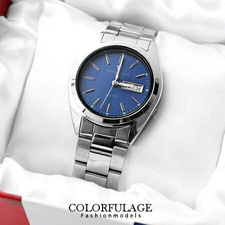 藍極光不鏽鋼腕錶 范倫鐵諾Valentino日本機芯簡約手錶 柒彩年代 【NE972】原廠公司貨 0