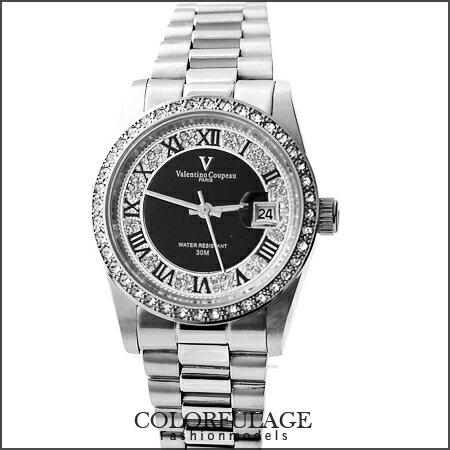 最佳禮物滿天星鑽錶 范倫鐵諾Valentino手錶 全不銹鋼材質打造 柒彩年代【NE975】原廠公司貨 0