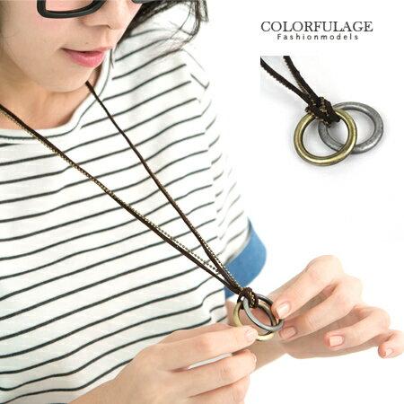 多層雙鍊金屬加麻繩長項鍊 雙環設計古銅上色 中性韓系風格 柒彩年代【NB328】 0