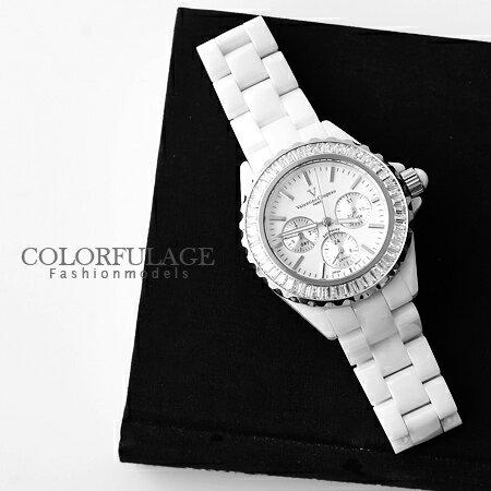雪白精密全陶瓷手錶 藍寶石水晶玻璃 真三眼 范倫鐵諾Valentino腕錶 柒彩年代【NE950】原廠公司貨 0
