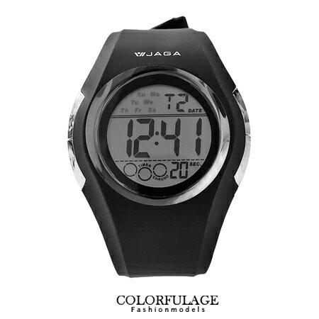 完美流線設計電子錶 防水高達100米 低調全黑配色 JAGA捷卡 柒彩年代【NE1001】原廠公司貨 0