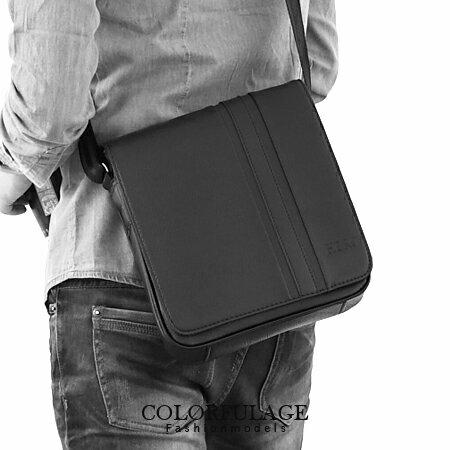 都會時尚側背包 質感全黑厚實皮革 商務上班族 柒彩年代【NZ330】型男磁鐵扣設計 0