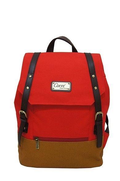 CORRE【CP606】-帆布雙皮扣後背包 共三色 藍/紅/桃紅 2