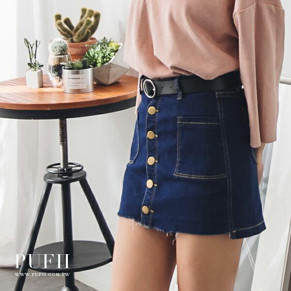 褲裙 排釦雙口袋前短後長不修邊牛仔丹寧褲裙^(附皮帶^) 2色 ~ PUFII 1006