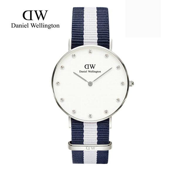 瑞典正品代購 Daniel Wellington 0963DW 銀  尼龍 帆布錶帶 女錶手錶腕錶 34MM
