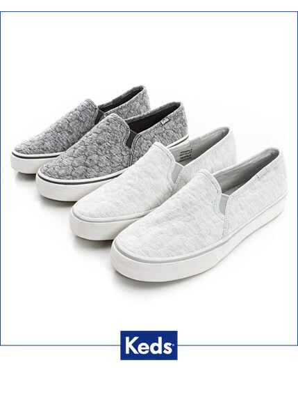 Keds 復古運動厚底休閒便鞋-淺灰 2