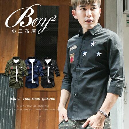 ☆BOY-2☆ 【PPK87015】美式潮流星星電繡七分袖襯衫 1