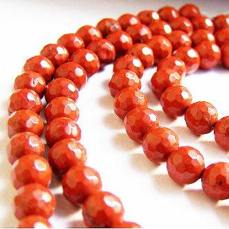 [紅石]天然寶石 6mm切角圓形珠 diy飾品散珠 - 限時優惠好康折扣