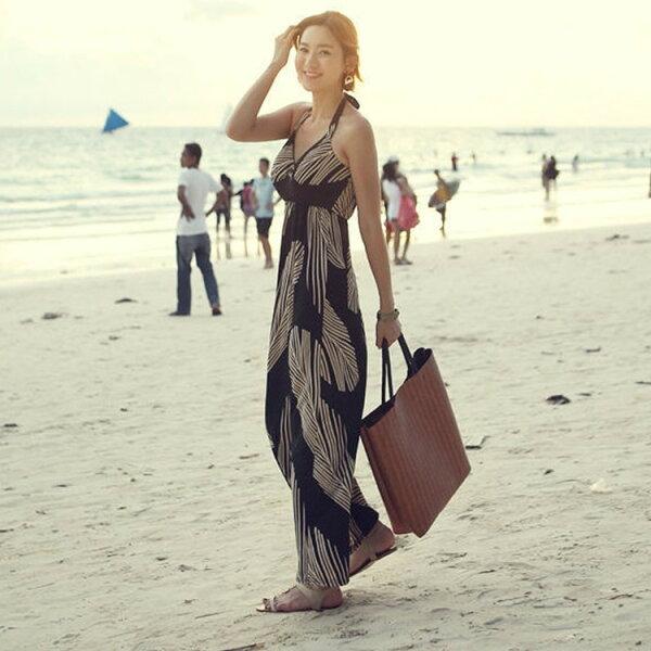 PS Mall 時尚新款百搭巴黎島黑色羽毛波西米亞度假沙灘長裙連身裙 洋裝【T1809】