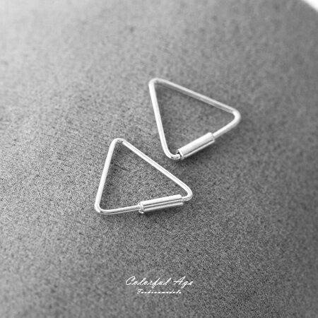925純銀耳針耳環 細緻三角型設計耳環 秀氣風格 抗過敏抗氧化 柒彩年代【NPD11】一對價格 0