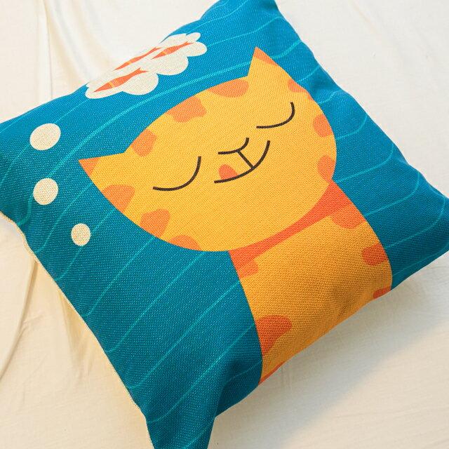 貓咪想吃魚抱枕  棉麻材質  45cmX45cm 花色獨特 觸感扎實 3