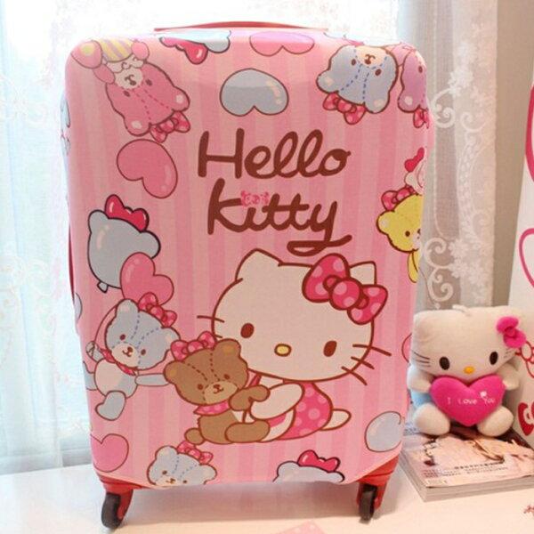 tangyizi輕鬆購【DS016】S.M號 hello kitty彈力布旅行箱防塵/保護套收納袋登機箱套 旅行箱套 行李箱套(預購款10天)