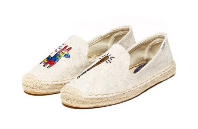 【Soludos】美國經典草編鞋-塗鴉系列草編鞋-米色長頸鹿 1