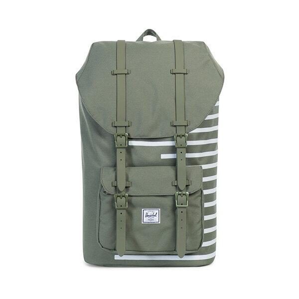 【EST】HERSCHEL LITTLE AMERICA 15吋電腦包 後背包 OFFSET系列 條紋 綠 [HS-0014-A41] G0414 0