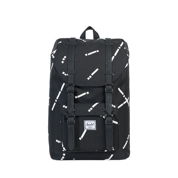 【EST】HERSCHEL LITTLE AMERICA MID 中款 13吋電腦包 後背包 線條 黑 [HS-0020-B44] G0801 0