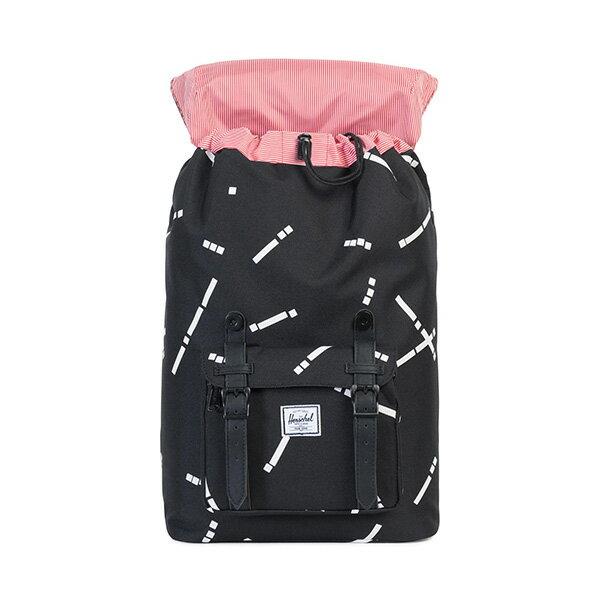 【EST】HERSCHEL LITTLE AMERICA MID 中款 13吋電腦包 後背包 線條 黑 [HS-0020-B44] G0801 1