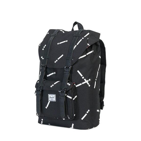 【EST】HERSCHEL LITTLE AMERICA MID 中款 13吋電腦包 後背包 線條 黑 [HS-0020-B44] G0801 2