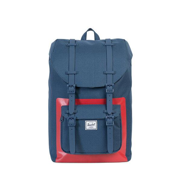 【EST】HERSCHEL LITTLE AMERICA MID 中款 13吋電腦包 後背包 紅印 藍 [HS-0020-B52] G0801