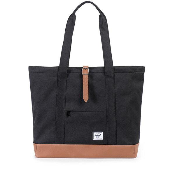 【EST】HERSCHEL MARKET XL 磁扣帶 托特包 購物袋 側背包 肩背包 黑 [HS-0030-055] G0414