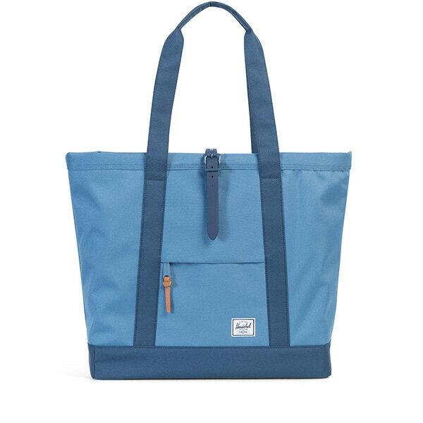 【EST】HERSCHEL MARKET XL 磁扣帶 托特包 購物袋 側背包 肩背包 拚色 藍 [HS-0030-A58] G0706 0