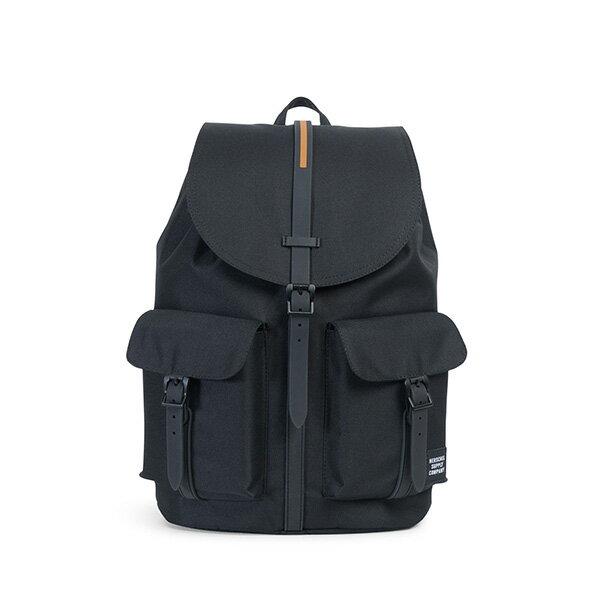 【EST】HERSCHEL DAWSON 束口 雙口袋 後背包 膠條 STUDIO系列 黑 [HS-0233-A94] G0414 0