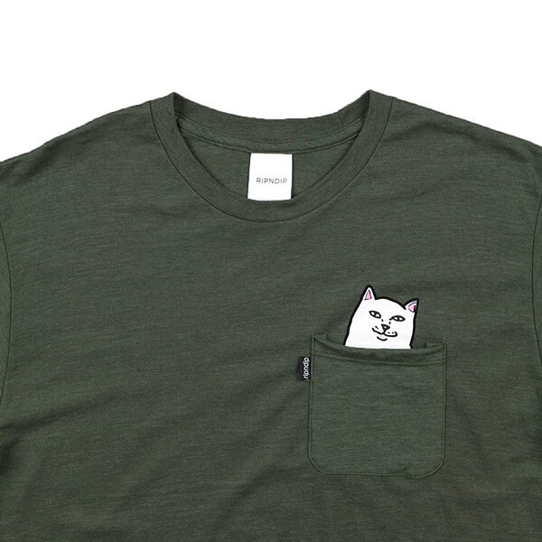 【EST】RIPNDIP LORD NERMAL 中指貓 口袋 短TEE 軍綠 [RD-0002-035] G0910 2