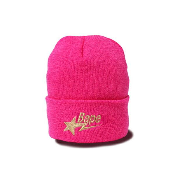【EST O】A BATHING APE BAPE STA KNIT CAP 毛帽 桃紅 G1004
