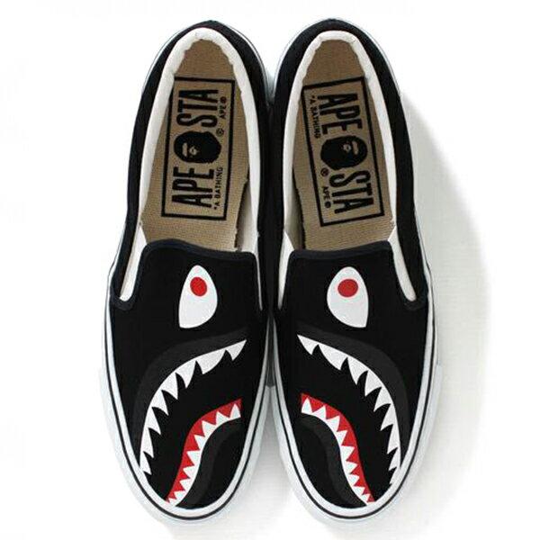 【EST O】A Bathing Ape Shark Slip On 鯊魚懶人鞋 黑 G1004 2