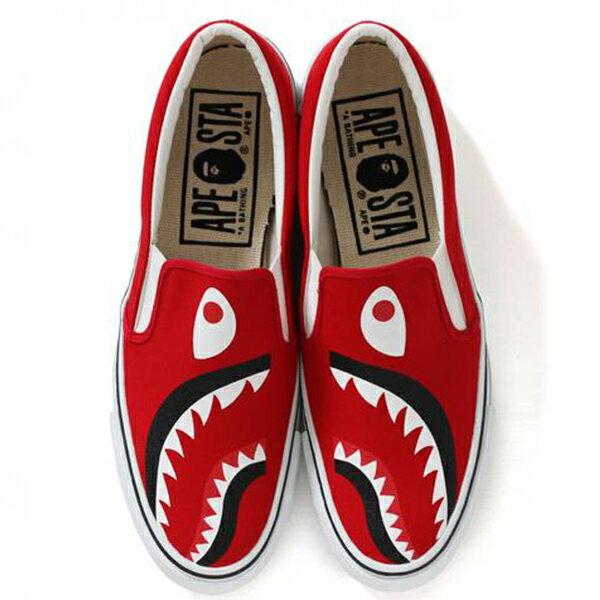 【EST O】A Bathing Ape Shark Slip On 鯊魚懶人鞋 紅 G1004 2