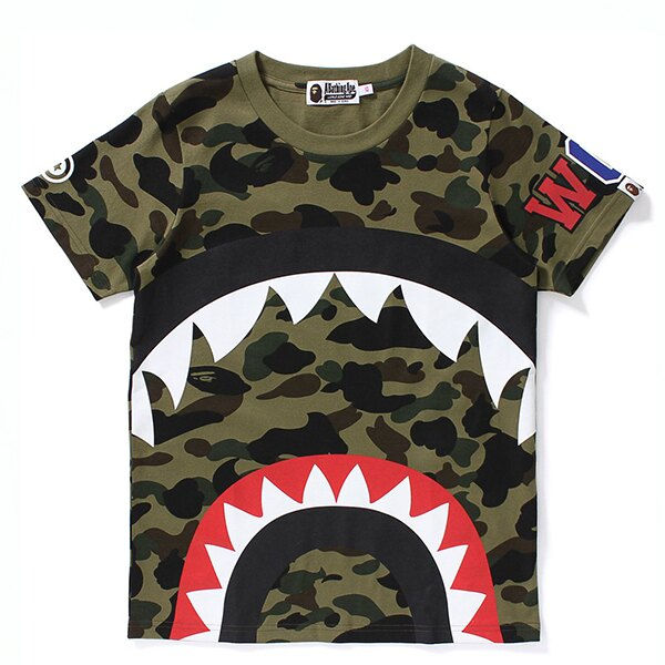 【EST O】A BATHING APE 1ST CAMO BIG SHARK 鯊魚短TEE 綠  LADIES G0908 0