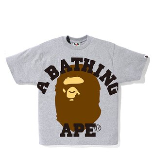 【EST O】A BATHING APE FACE OVER COLLEGE TEE 灰 G0908