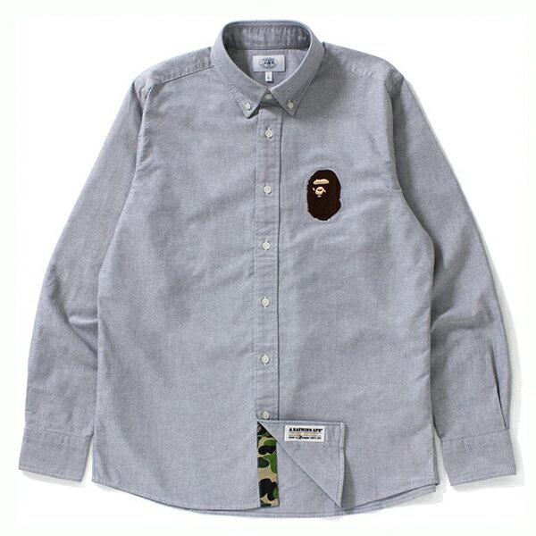 【EST O】A BATHING APE LARGE APE HEAD OXFORD BD SHIRT 襯衫 灰 G0908 0