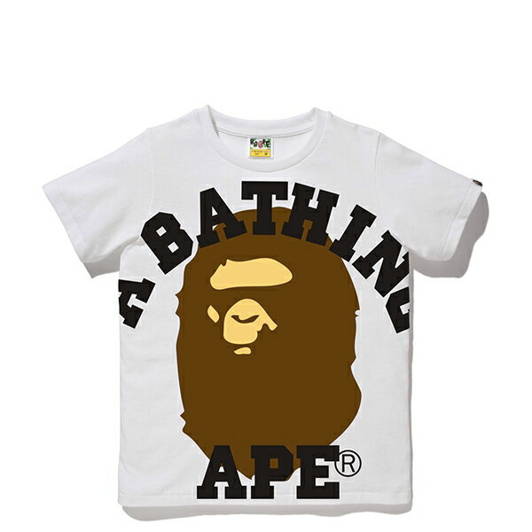 【EST O】A BATHING APE FACE OVER COLLEGE TEE 白 LADIES G0908