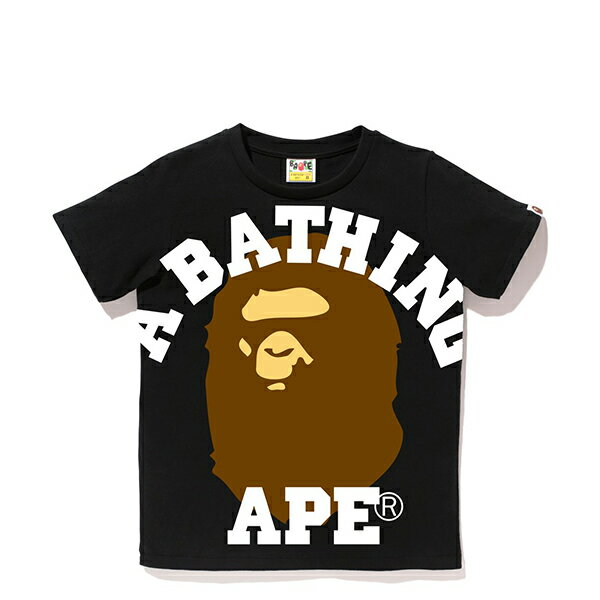 【EST O】A Bathing Ape Face Over College Tee 黑 Ladies G0908 - 限時優惠好康折扣