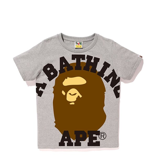 【EST O】A Bathing Ape Face Over College Tee 灰 Ladies G0908 0