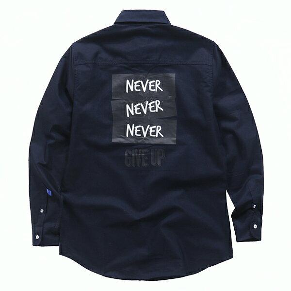 【EST O】MADNESS NEVER GIVE UPOXFORD SHIRT 口袋 長袖 襯衫 深藍 G0720 1