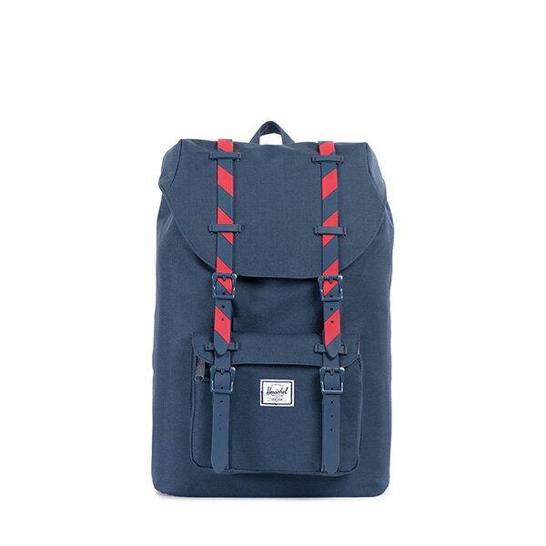 【EST】HERSCHEL LITTLE AMERICA MID 中款 13吋電腦包 後背包 斜紋 藍紅 [HS-0020-773] F0810 0