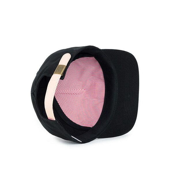 【EST】HERSCHEL NILES 皮革 後調式 五分割帽 棒球帽 黑 [HS-1022-001] F0819 2