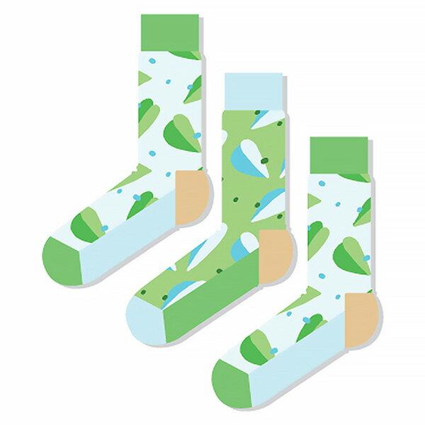 【EST】ODD PEARS LEEFE 葉子 兩綠一藍 中筒襪 男襪 [OP-0002-001] F0903 0