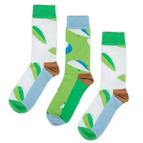 【EST】ODD PEARS LEEFE 葉子 兩綠一藍 中筒襪 男襪 [OP-0002-001] F0903 1