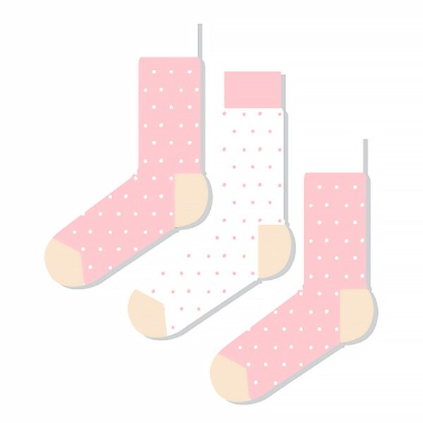 【EST】ODD PEARS DUSKO 點點 兩粉一白 中筒襪 女襪 [OP-0003-002] F0903 0