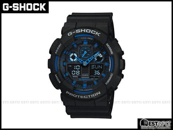 【EST O】G-SHOCK BABY-G CASIO GA-100 卡西歐 賽車 三眼 手錶 [GA-100-1A2DR] 黑藍 E0519